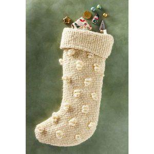 Anthropologie Textured Bobble Christmas Stocking